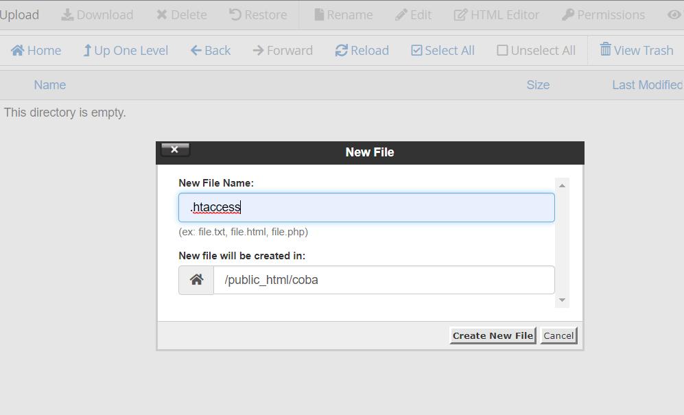 Ketikkan nama file .htaccess