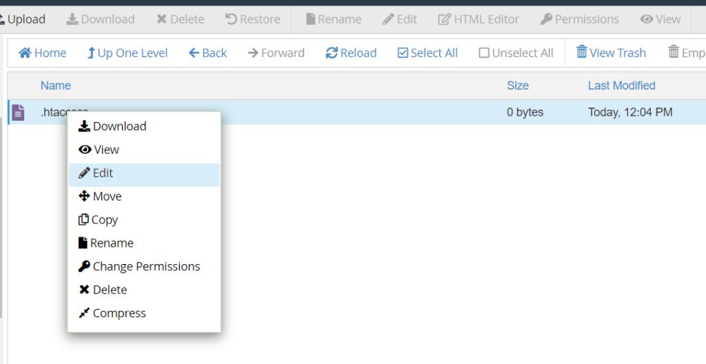 Edit file .htaccess